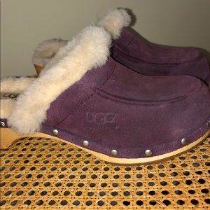 UGG eggplant suede studded clogs shoes size 6